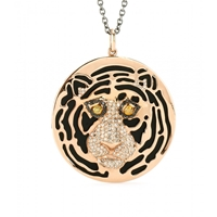 Ileana Makri 18Kt Rose Gold African Tiger Necklace With Onyx And Black Yellow And Brown Diamonds
