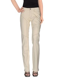 9.2 By Carlo Chionna Denim Denim Trousers Women Ivory