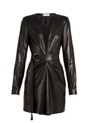 Saint Laurent Deep V Neck Leather Mini Dress Black