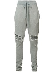 Amiri Ripped Tapered Sweatpants Grey