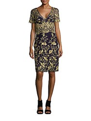 Marchesa Short Sleeve V Neck Dress Navy