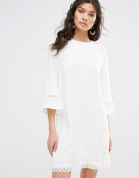 Stevie May Bell Sleeve Shift Dress With Trim White