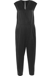 Tibi Open Back Washed Silk Jumpsuit Black