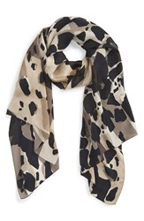 Women's Burberry Animal Print Check Silk Scarf Grey Dark Stone