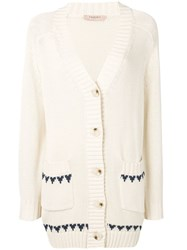 Twin Set Embroidered Butterfly Cardigan Neutrals