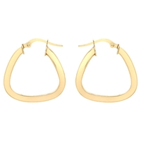 Ibb 9Ct Gold Triangle Shaped Creole Earrings Gold