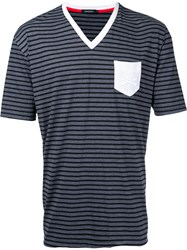 Loveless Striped V Neck T Shirt Men Cotton 2 Grey