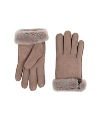 Ugg Tenney Glove With Leather Trim Stormy Grey Multi Dress Gloves Gray