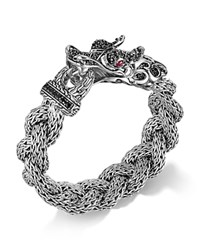 John Hardy Sterling Silver Naga Large Braided Chain Dragon Head Bracelet With Black Sapphire And Ruby Eyes