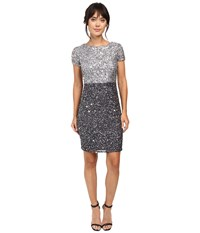 Adrianna Papell Color Block Beaded Cocktail Silver Gunmetal Women's Dress