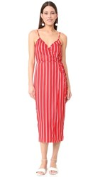 Wayf Sandalwood Cami Wrap Dress Red Stripe