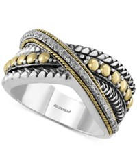 Effy Collection Effy Balissima Diamond Crisscross Ring 1 8 Ct. T.W. In Sterling Silver And 18K Gold
