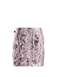 Sies Marjan Desiree Crinkled Metallic Mini Skirt Pink