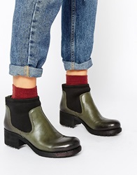 Park Lane Chunky Leather Chelsea Boots Darkgreen