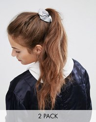 Asos Basics Pack Of 2 Grey And Nude Jersey Hair Scrunchies Multi