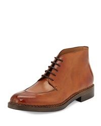 Montauk Tramezza Calfskin Boot With Norwegian Welt Light Brown Salvatore Ferragamo
