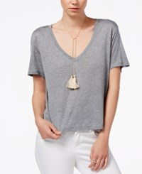 Rachel Rachel Roy V Neck Short Sleeve Top Clay Heather