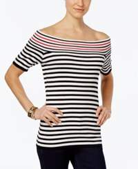 Ny Collection Petite Striped Off The Shoulder Sweater Jacky