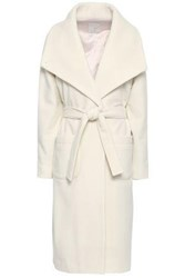 Joie Woman Belted Wool Blend Felt Coat Ivory