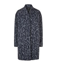 Set Leopard Print Coat Blue
