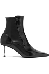 Alexander Mcqueen Embellished Glossed Leather Ankle Boots Black