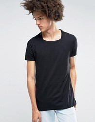 Asos Longline T Shirt With Square Neck In Black Black