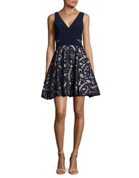Xscape Evenings Damask Applique Fit And Flare Dress Navy Stone