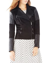 Bcbgmaxazria Olympia Faux Leather Trim Moto Jacket