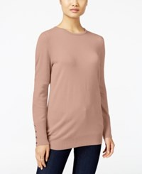 Jm Collection Crew Neck Button Cuff Sweater Only At Macy's Tea Rose