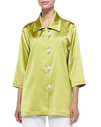 Caroline Rose Radiant Satin Pave Button Shirt Citron