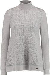 Just Cavalli Textured Knit Wool Blend Turtleneck Sweater Gray