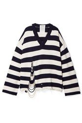 Monse Oversized Faux Pearl Embellished Striped Knitted Sweater Navy