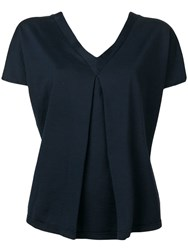 Ma'ry'ya V Neck Pleated Front Blouse Blue