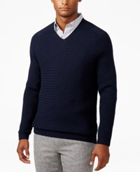 Vince Camuto Men's Mixed Pattern V Neck Sweater Navy