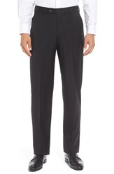 Berle Men's Flat Front Solid Wool Trousers