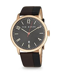 Ted Baker Two Tone Stainless Steel And Leather Analog Watch Black