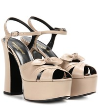 Saint Laurent Candy 80 Leather Platform Sandals Neutrals