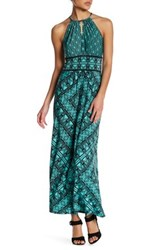 London Times Grid Puzzle Keyhole Maxi Dress Petite Blue
