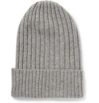 The Elder Statesman Ribbed Cashmere Beanie Gray