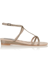 Lucy Choi London Bloomsbury Glitter Finished Leather Wedge Sandals