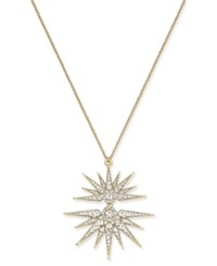 Joan Boyce Gold Tone Crystal Split Starburst Pendant Necklace