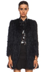 Red Valentino Fuzzy Faille Poly Jacket In Black