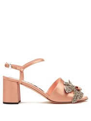 Rochas Crystal Embellished Satin Sandals Pink Multi