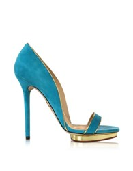 Charlotte Olympia Christine 125 Swimming Pool Blue Suede Platform Sandal Turquoise