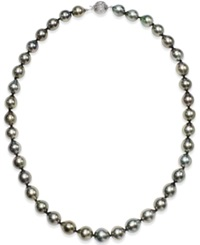 Macy's Tahitian Multi Color Pearl 9 11Mm Strand Necklace In 14K White Gold