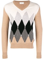 Ballantyne Colour Contrast V Neck Sweater Nude And Neutrals
