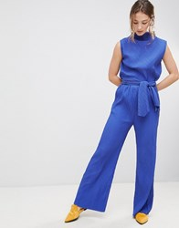 Mbym High Waisted Flared Trousers Clematis Blue