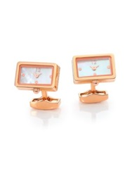 Tateossian Piccolo Mother Of Pearl Watch Cuff Links Gold Rose