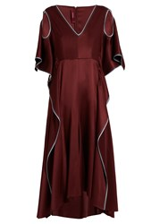 Sies Marjan V Neck Ruffled Silk Charmeuse Dress Burgundy