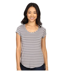 Columbia All Who Wander Short Sleeve Top Cirrus Grey Light Grey Stripe Women's Short Sleeve Pullover